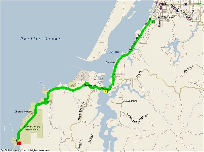 Overview Map of Cape Arago Highway