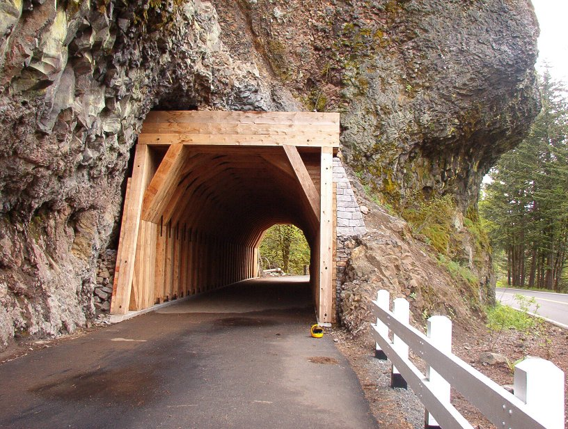 Rebuilt tunnel through the bluff