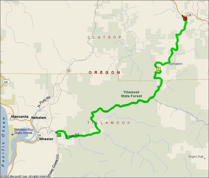 Wheeler Oregon Map.Lower Nehalem Road Foss Road Motorcycle Roads Northwest