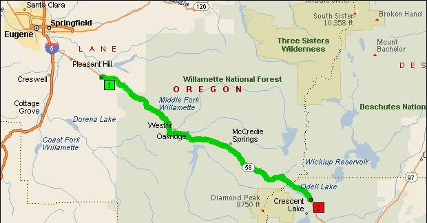 Map of Oregon Highway 58