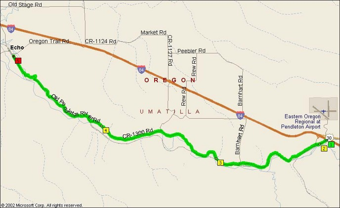 Overview Map of Old Pendleton River Road