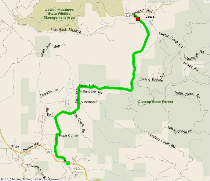 Overview Map for Fishhawk Falls Highway