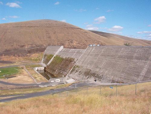 Dam holding Willow Creek Reservoir at bay