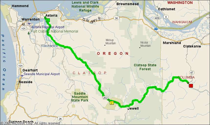 Overview Map of Oregon Route 20
