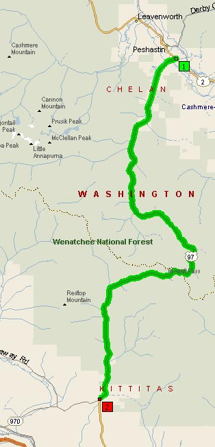 Map of the US97 section traversing Blewett Pass