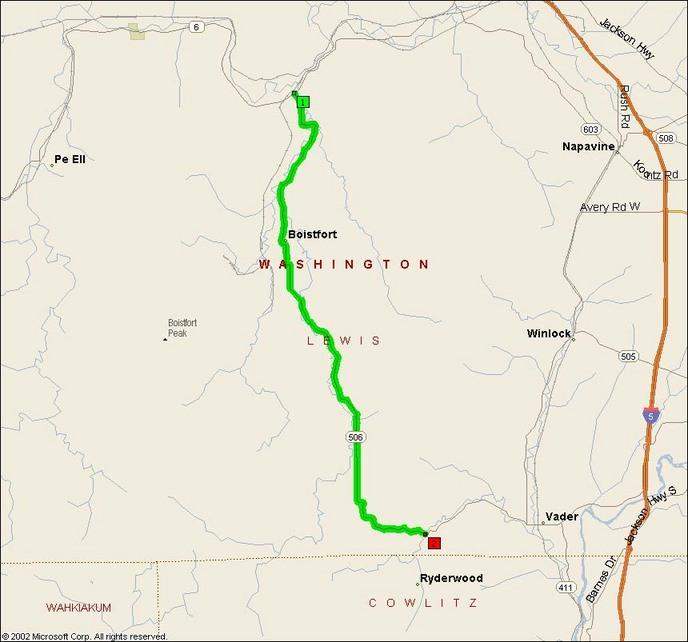Streets & Trips map of Boistfort Road