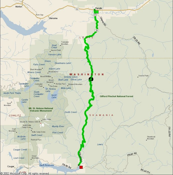 Overview Map of Gifford-Pinchot Forest Service Road 25