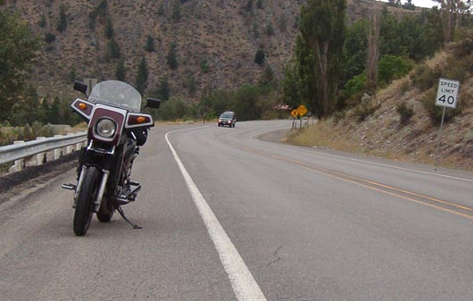 View back along SR153, the Methow Valley Highway. Including my 1984 Honda 1100 Sabre