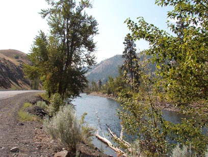 Naches River, facing downstream. It was already quite hot by 10:30 when I took this shot in July 2004