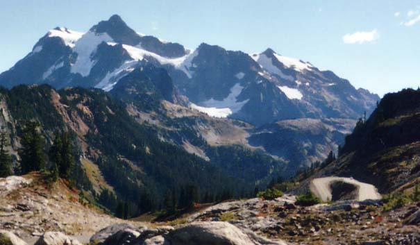 Mount Shuksan and a hairpin turn