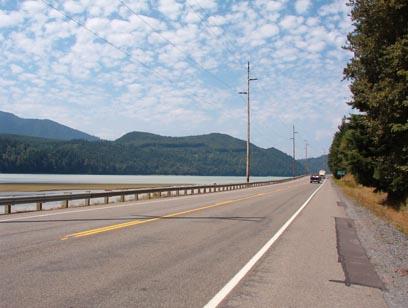 Northbound on 7 near Alder Lake