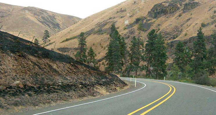 Other than being burned out by a nasty brushfire earlier in the week, this road is a slice of cycling heaven.