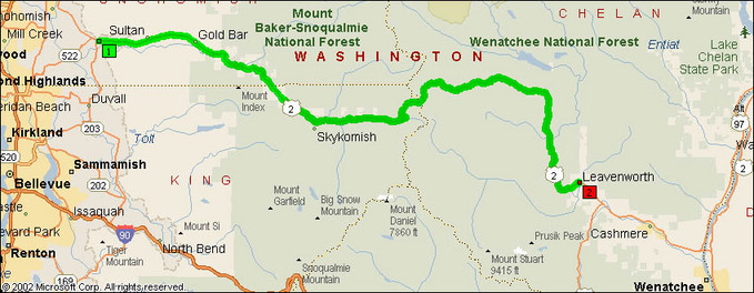 US Route Monroe Leavenworth Motorcycle Roads NorthWest - Map of us route 80